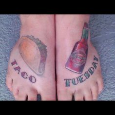 Tijuana Flats mega-fan shows us her dedication by getting a Taco Tuesday tattoo! She visits our Sarasota location each week with her scooter club and can't get enough of our dos tacos, chips and drink for $4.99. Taco Tattoos, Taco Tuesday, Tatting, Tacos, Laughter, Piercings, Mexican, Florida, Chips
