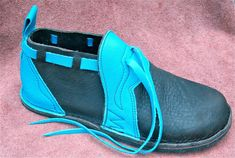 Handmade Leather  Shoes  turquoise cow on brown by thoseshoes