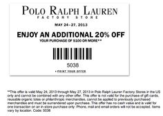 Polo factory store coupons printable