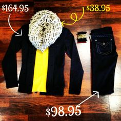 School spirit never looked this good! Root for the Tigers tomorrow in this comfy outfit! #tigers #yellow #black #scarf #fluffy #missme #bedazzled #pockets #bracelets #shiny #gold #jewelry #football #gameday #college #mizzou #school #colors