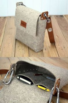 """Mens felt satchel bag handmade from 3 mm industrial wool felt, which is assembled using pop rivets. The strap is made from 100% vegetable tanned full-grain leather which is backed with wool felt and fastens onto the bag with carabiners. The front flap fastens with a magnetic snap and there are internal pockets for your phone and wallet. Dimensions: Length 9 / 23cm Width 10 / 25cm Depth 2.5"""" / 6cm This bag, like all my items, are designed and made by myself in London, UK. I do not hold a hu"""