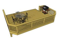 This deck plan consists of a x deck with clipped corners and an interesting stair that begins set into the side of the deck. The result is a traffic pattern that moves people on and off the deck alongside the house. Building Design Plan, Building A Deck, Cool Deck, Diy Deck, Free Deck Plans, Laying Decking, Wood Prices, Deck Construction, Decking Material