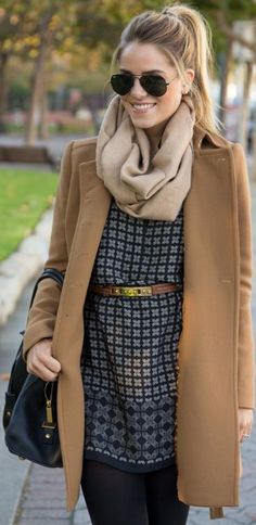 Camel Colored coat with patterned and belted tunic top, tight black leggings