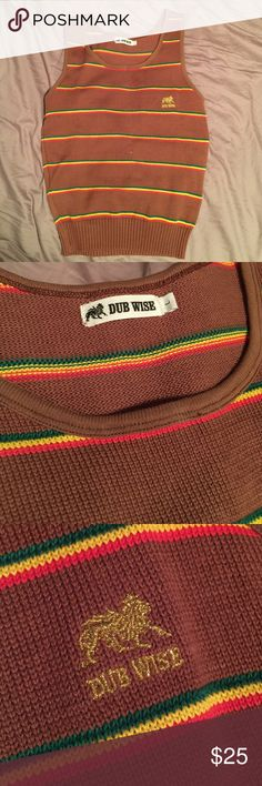 Dub Wise Rasta Color Vest Reggae vibes vest - cute with dark blue skinnies or jean skirt. Size L but fits like a snug medium. Never worn. Dub Wise Tops Muscle Tees