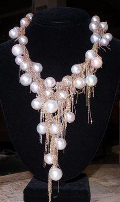 Martin Bernstein jewelry. Super fine gauge chains create incredible effects. Beautiful...