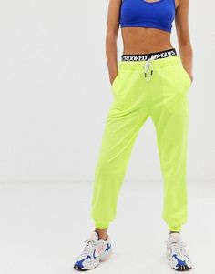 Crooked Tongues jogger with double waistband detail in neon | ASOS
