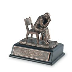 """Bronze Resin Praying Woman Sculpture With Black Wood Base And Bible Verse by LCP Gifts. $32.95. Featured text:Psalm 17:6. Bronzelike finish,plaque with Scripture, protective felt backing on base, We All Need Hope booklet. Sculpture Size: 3"""" x 4""""Base Size: 4 1/4 x 3 1/2Packaging: Moments of Faith Collector Box. Materials: hand-cast resin, wood base with black satin finish. This inspiring sculpture powerfully portrays a woman praying to God with conviction . This timeless sculpt..."""