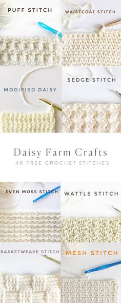 Crochet Tutorial Design 40 Free Crochet Stitches from Daisy Farm Crafts - Picot Crochet, Manta Crochet, Tunisian Crochet, Love Crochet, Beautiful Crochet, Crochet Hooks, Crochet Daisy, Crochet 101, Scarf Crochet