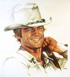 Terence Hill by Renato Casaro -- Pic found on Arts Backstage. Western Film, Western Movies, Western Art, Westerns, Cowboy Photography, Native American Spirituality, Terence Hill, Hollywood Music, Horse Artwork