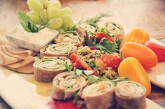 lifesaver Rolls :) Ingredients 3 Large Whole Wheat or Ezekiel Tortillas 3/4 Cup Plain Greek Yogurt 6 Slices of Roasted Turkey Breast Slices 3/4 Cup Cooked Quinoa 1 Cup Spinach leafs 1/3 Cup Diced Roma Tomatoes 2 Finely Diced Scallions Fresh Mint Fresh Basil Olive Oil Red Wine Vinegar Toothpicks