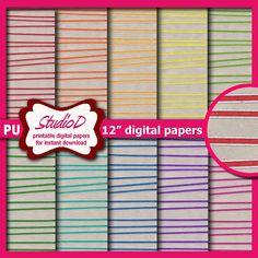 Glitter stripes digital paper 12x12 Premade scrapbook pages Kraft digital papers pack Printable gift wrap download by StudioDprint