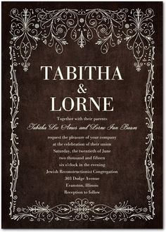 This wedding invitation features deep background colors and intricate border designs.