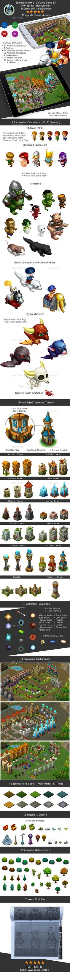 Create your own free game with this Isometric Tower Defense Game Kit containing Characters, Sprites, Backgrounds, Tilesets and Miscellaneous  These Isometric Game Assets are for all game developers, new or experienced. Can be used to create or develop a game in any game engine, such as Game Maker, Unity, Gamesalad, Stencyl, Construct, Buildbox, RPG Maker, V play, Marmalade, Flash, Java, HTML and more
