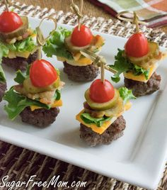 Mini Bun-less Cheeseburgers On A Stick (low carb; use gluten free pi… Mini Bun-less Cheeseburgers On A Stick (low carb; use gluten free pickles & bacon, if making sauce, use gluten free ketchup, pickles; Finger Food Appetizers, Appetizers For Party, Appetizer Recipes, Gluten Free Appetizers, Healthy Appetizers, Gluten Free Party Food, Healthy Finger Foods, Appetizers On Skewers, Toothpick Appetizers