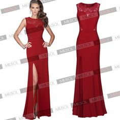 Womens-Formal-Long-Lace-Prom-Cocktail-Evening-Party-Split-Side-Bodycon-Dresses