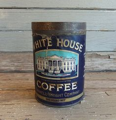 Antique 1 LB White House Coffee Tin Paper Label by JunkFromMyTrunk