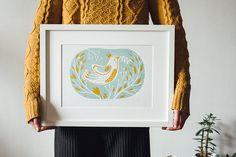 "Original Linocut print ""Bird with twig"" in 2 colours, unframed wall poster, Limited edition, handmade by Alexandra Dvornikova"