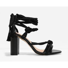 CHARLES & KEITH Rope-Tie Heel Sandals ($49) ❤ liked on Polyvore featuring shoes, sandals, black, chunky-heel sandals, chunky block heel sandals, black heel sandals, roper shoes and black open toe shoes