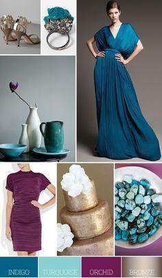 Colour scheme: indigo, turquoise, orchid, bronze