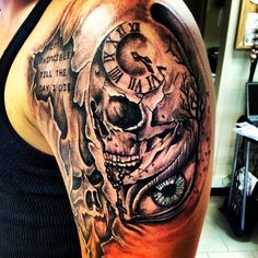 The start to my sleeve, theme based, hell on the left and heaven on the right to symbolize the inner fight between good and evil we face daily.