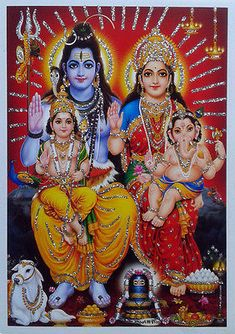 "Lord Shiva family Parvathi Ganesha Karthik - POSTER (Glitter Effect Work) 5""x7"""
