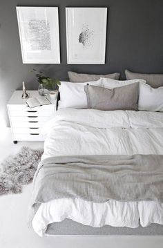 The bedroom is supposed to be a comfortable place to take a rest. A small bedroom is not an obstacle to create an attractive bedroom. Scandinavian bedroom design would be very suitable to be applied to bedroom designs, especially for… Continue Reading → Simple Bedroom Decor, Home Decor Bedroom, Bedroom Furniture, Decor Room, Bedroom Ideas, Bedroom Designs, Bedroom Art, Trendy Bedroom, Comfy Bedroom