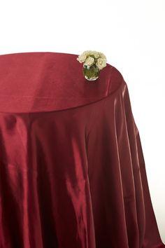 Burgundy satin round table cloths  #burgundy table cloths #table linen hire  www.decorit.com.au