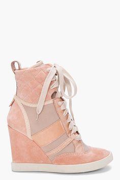 CHLOE Taupe Wedge Sneakers