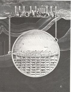 27 Cutaway Drawings That Show All the Secrets of Buildings. Shown: Architecture and City Planner Oscar Newman's plan of a massive underground sphere beneath Manhattan, NYC Baroque Architecture, Futuristic Architecture, Architecture Collage, Minimalist Architecture, Chinese Architecture, Architecture Visualization, Architecture Drawings, Architecture Portfolio, Architecture Illustrations