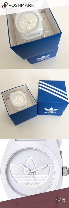 Adidas Unisex White Watch Adidas Santiago Unisex Analog Watch White Silicone Strap. White rubber case with a white silicone strap. White rubber bezel. White logo dial with white hands. Minute markers around the outer rim. Dial Type: Analog. Quartz movement. Scratch resistant mineral crystal. Pull / push crown. Solid case back. Case size: 42 mm. Case thickness: 12 mm. Round case shape. Band width: 22 mm. Water resistant at 50 meters / 165 feet. Functions: hour, minute, second. Sport watch…