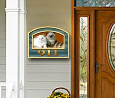 Custom residential,house sign with illustration of client's cats by THE SIGN MAN of North Myrtle Beach, South Carolina.  Facebook page Residential Signs by The Sign Man.  email: wodinart@aol.com.  phone: 843-272-3820.
