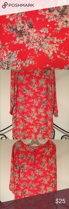 Allison Joy Tunic Dress NWOT Allison Joy tunic dress in gorgeous shades of red, pink, grey and pale blue. 3/4 length sleeves. HAS POCKETS!!!! Long enough to be worn on its own or with leggings/skinny jeans. Allison Joy Tops Tunics