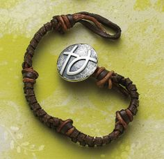 Mocha Woven Leather Bracelet with Rustic Cross & Ichthus Clasp #jamesavery