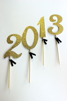 Graduation Decor #gold #black or ages - 15* buy sticker letters glue back to back and glitter