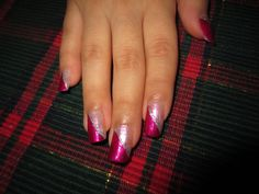 Christmas 2013 nails - Pink and Magenta and Silver