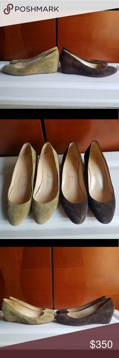 d24a8a2623d8 CHRISTIAN LOUBOUTIN HIDEN WEDGE SUEDE HEELS PRICE IS FOR SINGLE PAIR one  pair rich dark brown other light olive green suede leather Please indicate  which ...