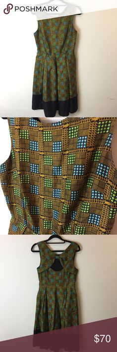 Girls From Savoy Anthro Quilted Print Dress Gorgeous dress with a Quilted print and has blue and green colors! Lined and is a-line style- zipper closure and a great occasion and casual dress! Size 8p Anthropologie Dresses