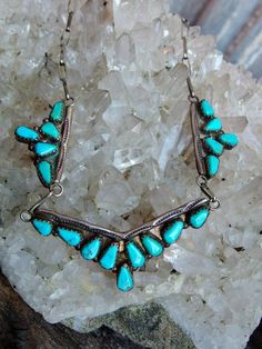 Striking Hand Crafted Native American Turquoise and Silver Necklace, Signed Vance, Sky Blue Teardrops, 3 Separate Mountings, Hand Made Chain by postGingerbread on Etsy
