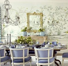 Whimsical and lovely....loving the lavender and wall art