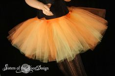 two tone tutu adult skirt dance orange yellow extra poofy petticoat roller derby rave -Ready to Ship - Medium -Sisters of the Moon