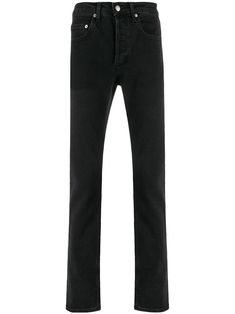 Black cotton blend slim fit trousers from sandro paris featuring a waistband with belt loops, a button and zip fly, a five pocket design and a regular length. Sandro, Slim Fit Trousers, Paris, Skinny Fit Jeans, Black Cotton, Black Jeans, Women Wear, Mens Fashion, Fashion Design