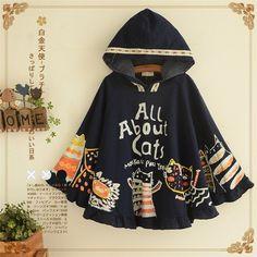 "Lovely letter cat doodles cloak hooded jacket Coupon code ""cutekawaii"" for 10% off"