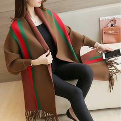 2017 New Autumn Winter Fashion Women Oversized Knitted Bat sleeve Cardigan Tassel sweater Female Jumper Coat Cape Poncho Shawl