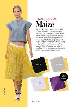 2014: Spring/Summer: Color Charts from InStyle Magazine #whattowearwith Maize #yellow