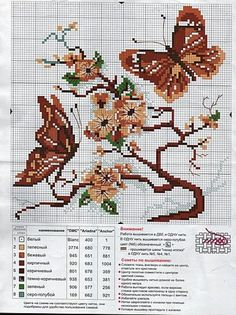 Butterfly cross stitch and chart. Solo Patrones Punto Cruz (pág. 1437) | Aprender manualidades es facilisimo.com