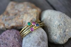Mother's Day idea from #AngieColomboJewlery - 18K Gold Stackable Rings - Ruby, Sapphire, Emerald