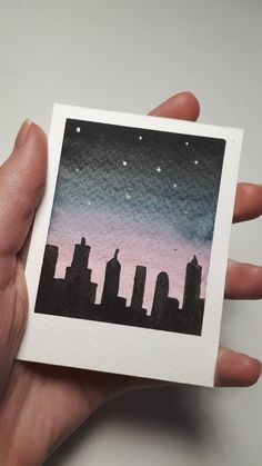 Watercolor Polaroid photo/ instax image with night skyline Small Canvas Paintings, Small Canvas Art, Mini Canvas Art, Watercolor Paintings For Beginners, Watercolor Projects, Watercolor City, Watercolor Drawing, Cool Art Drawings, Art Drawings Sketches