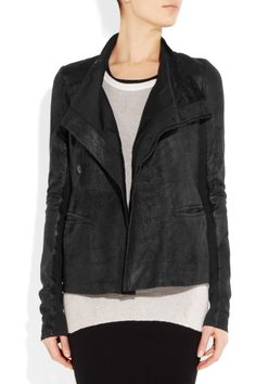 Rick Owens|Distressed leather jacket|NET-A-PORTER.COM