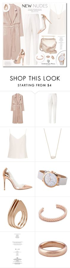 """""""Christian Paul"""" by ruska-10 ❤ liked on Polyvore featuring MANGO, Victoria Beckham, Raey, Kendra Scott, M2Malletier, Gianvito Rossi, Ludevine, Sam Edelman, Lauren Wolf and white"""