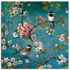 4 x Paper Napkins - Birds in Blossom - Ideal for Decoupage/Napkin Art Chinoiserie, Wall Murals, Wall Art, Paper Napkins For Decoupage, Bird Wallpaper, Motif Floral, Vintage Paper, Vintage Table, Bird Art